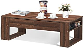 Giantex Coffee Table with Storage Drawers and Two Side Shelves, Concise Modern Style Home Office Furniture, Suitable for Living Room, Rest Room and Office Tea Table (Walnut)