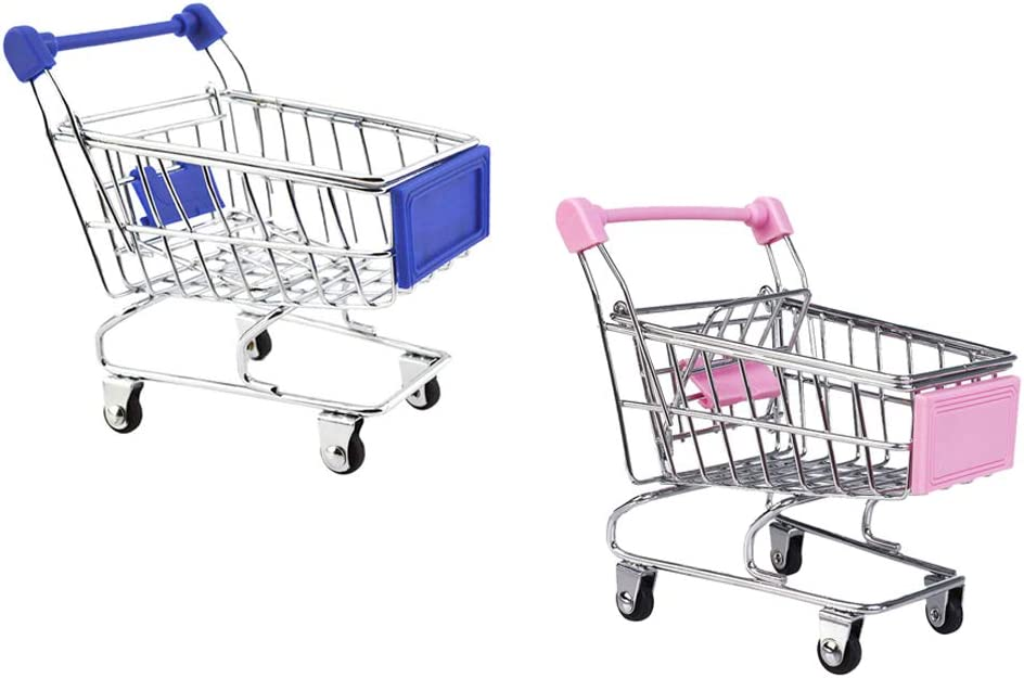 LoveinDIY 2 Pieces Miniature Metal Grocery Shopping Cart/ Doll S