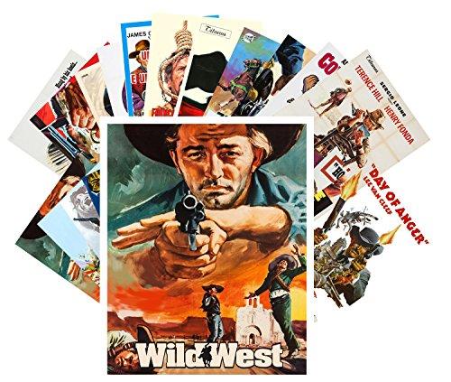 Postcard Pack 24pcs Western Vintage Movie Poster Wild West Cowboys Indians Action