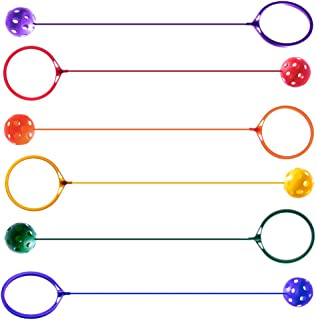 K-Roo Sports 6-Pack Swinging Skip Balls, Rainbow Colors - Kids Jump Rope Athletic Exercise Toy for Playground, Gym Class, & Home
