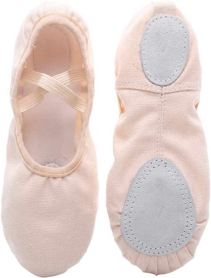 Healifty 1 Pair Canvas Ballet Shoes Full Sole Ballet Slippers Yoga Shoes for Dancing for Toddler Kids Girls Women Size 24