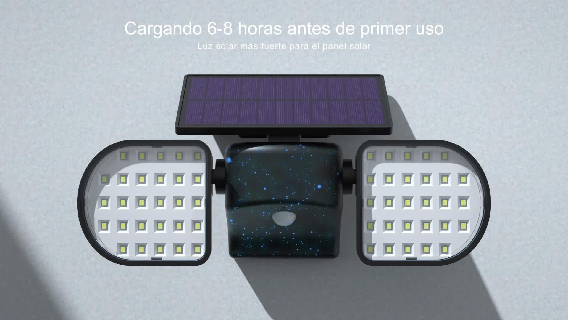 Luz Solar Exterior GolWof 230LED 3 Cabezas Lampara Solar Exterior con Sensor de Movimiento 270/º lluminaci/ón Foco Solar Exterior Potente IP65 Impermeable para Frente Jardin Garaje Camino Patio