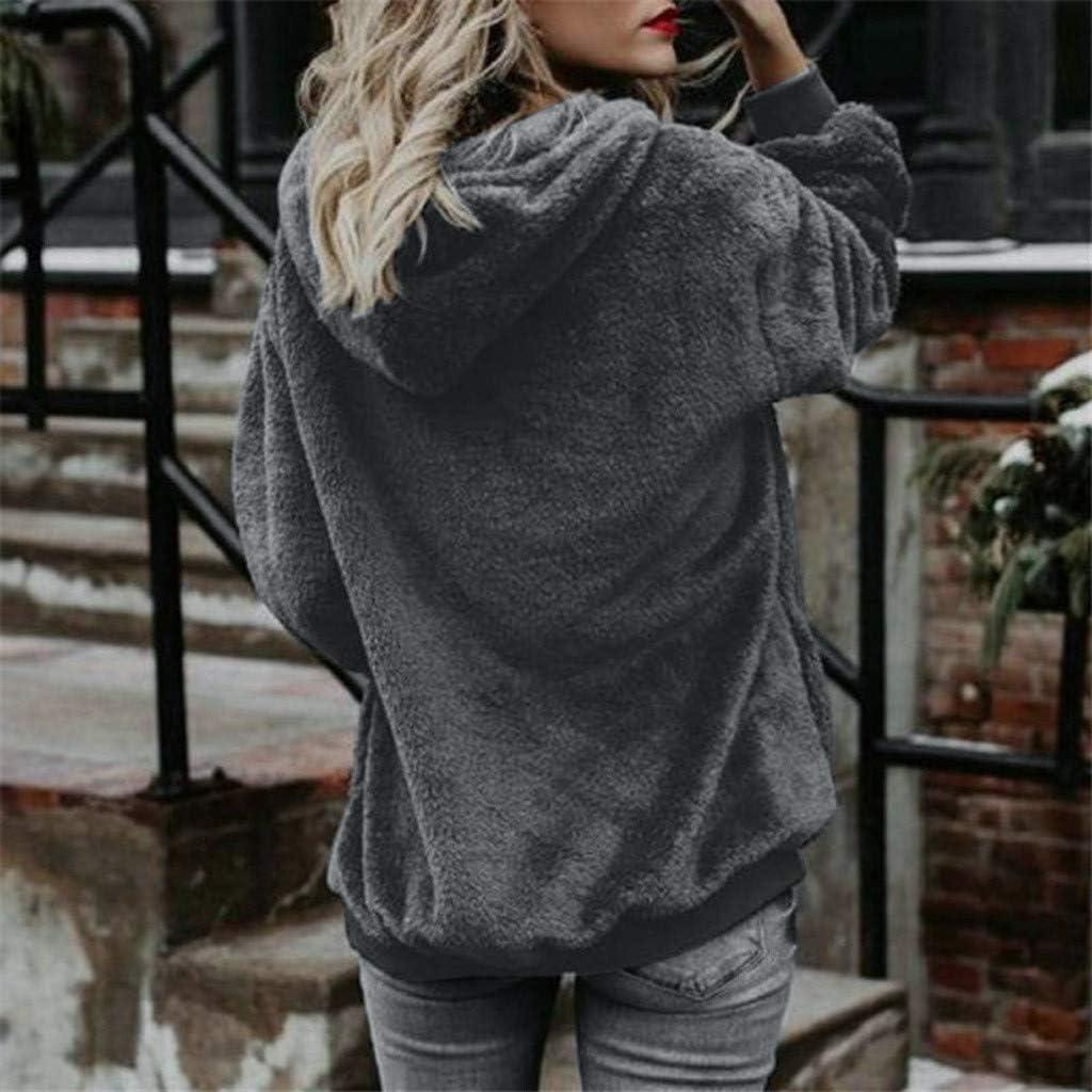 Gogoty Women Oversized Sherpa Pullover Hoodies Fuzzy Fleece Buttons Long Sleeve Casual Sweatshirt Fluffy Coat with Pockets