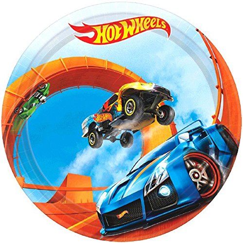 Amscan Boys Fast Riding Hot Wheels Wild Racer Birthday Party Round Dessert Plates (Pack Of 8), Multicolor, 7'