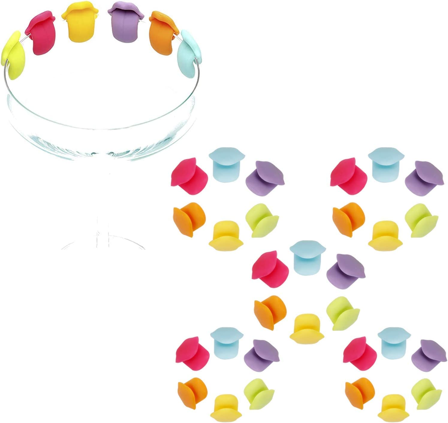 5Set Silicone Drink Markers Direct stock discount Reuseable Party Wine Washington Mall Tongue-shaped