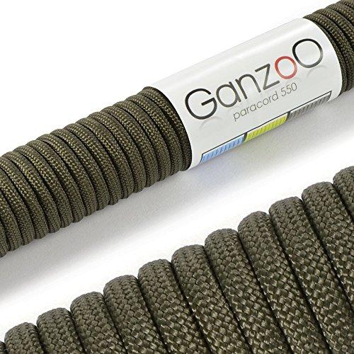 Ganzoo, Paracord 550, cordauniversale resistente allo strappo, in nylon da paracadute, 250 kg, lunghezza totale 15metri, verde felce