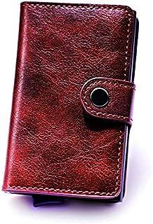Portafogli in pelle sottile e minimalista, stile moderno RFID, in alluminio, per uomo e donna, con confezione regalo, Colo...