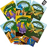 Bulk Mini Dinosaur Coloring Books (Pack Of 24) With 8 Premium Color Crayons, Dino Designs Coloring Books And Crayons, For Birthday Party,Dinosaur Themed Goody Bag Filler