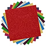 Bright Idea Glitter Heat Transfer Vinyl Sheets, 9 Sheet Heat Transfer Vinyl Bundle of Glitter HTV Iron On Vinyl for Silhouette Cameo & Heat Press | Durable, Vibrant Colors for All HTV Projects