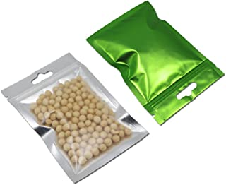 100 Pcs Resealable Clear Front Mylar Foil Heat Sealable Bags Bulk Food Storage Snack Sampling Pouch with Hang Hole Aluminum Foil Grip Seal Reclosable Flat Ziplock Bags (7x10cm (2.75x3.93 inch), Green)