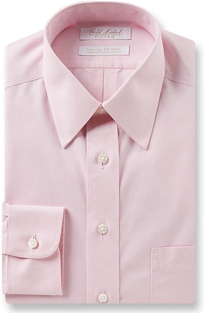 Gold Label Roundtree & Yorke Non-Iron Fitted Point Collar Solid Dress Shirt G16A0074 Pink