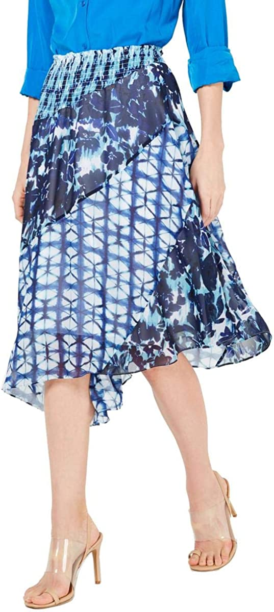 INC Womens Printed Smocked Asymmetrical Skirt Blue S