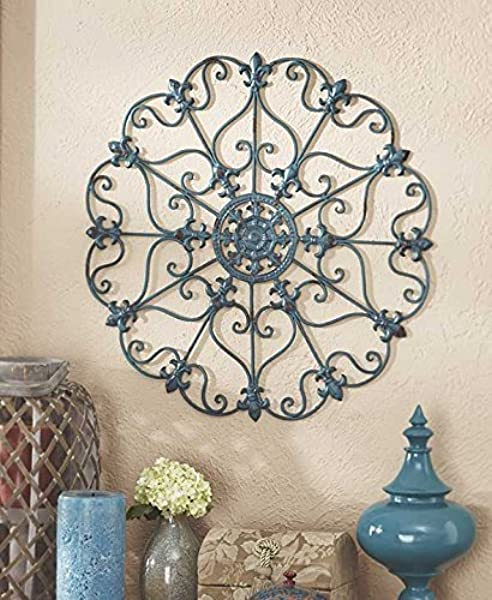 Teal Turquoise Fleur De Lis Metal Vintage Style Ornate Medallion Iron Wall Sculpture Plaque Decoration