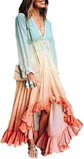 Womens Irregular Rainbow Long Dress Long Sleeve Colorful Chiffon Swing V Neck Dress Plus Size