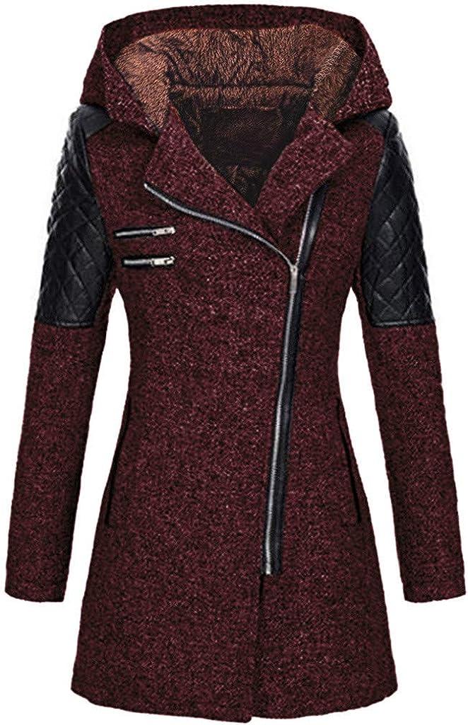 Women Coats Ladies Double Breasted Pea Coat Elegant Winter Lapel Wool Coat Trench Jacket Overcoat Outwear