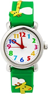Boys Watches ,TOPCHANCES Kids Students 3D Time Machines Time Teacher Analog Display Easy Read Wrist Watch Kids Quartz Watch with Rubber Band (Green Giraffe)
