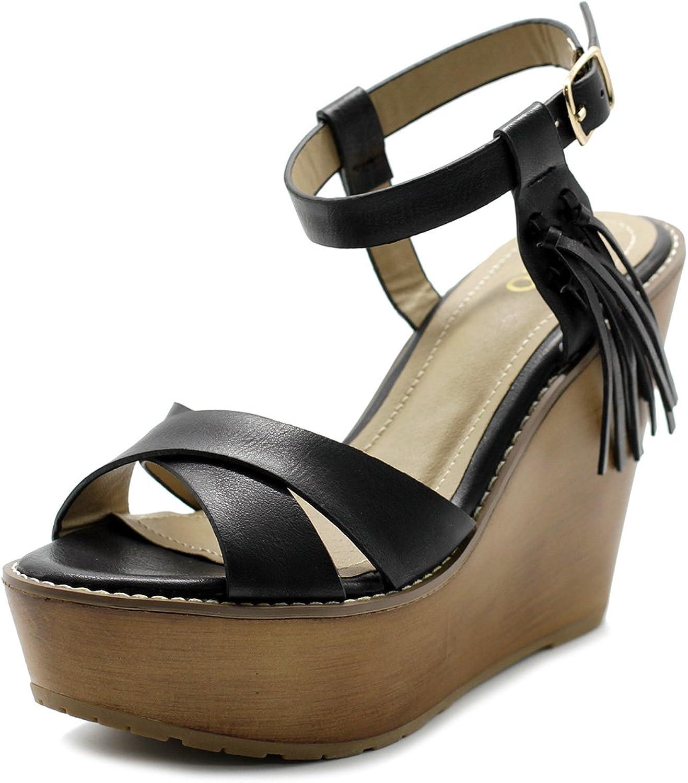 Ollio Womens shoes Burnish Vintage Ankle Cuff Heel Wedge Sandal