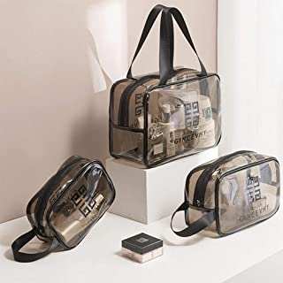 KEJIH 3 Pcs Size Suits Portable travel Cosmetic bag PVC Transparent Wash Bag. Clear Waterproof Zippered Toiletry Bag Quart Luggage beach Shower Swimwear Storage Bag Makeup Bag