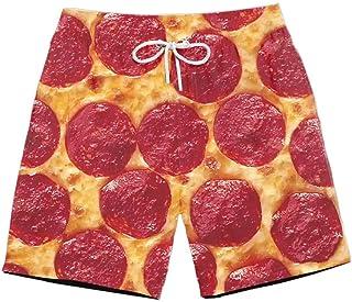 XIELH Shorts Summer 3D Printed Beach Pants Home Plus Size Loose Pants 3D Pizza Print Beach Shorts