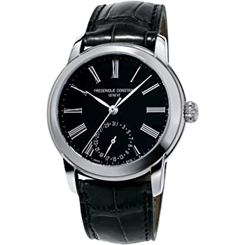 Frederique Constant Men's Classics Manufacture Stainless Steel Automatic-self-Wind Watch with Leather-Alligator Strap, Black, 22 (Model: FC-710MB4H6)