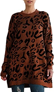 Sprifloral Women's Leopard Sweater Tops - Casual Long Sleeve Crew Neck Knitted Oversized Pullover Sweater