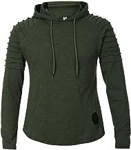Sunhusing Men Slim Solid Color O-Neck Striped Pleated Raglan Long Sleeve Hooded T-Shirt
