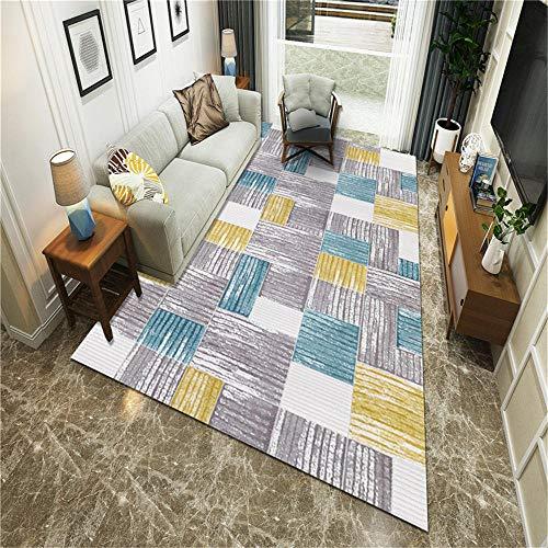 Kunsen habitación Alfombra Lavable Carpeta Rectangular Gris Antideslizante Anti-caída de la Sala de Estar decoración Decoracion de Salones 160X200CM 5ft 3' X6ft 6.7'
