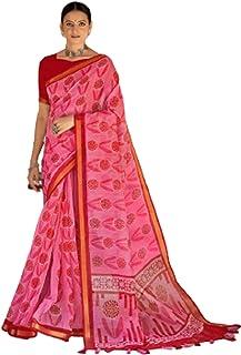فستان ساري هندي وردي قطني ثقيل تقليدي للنساء قطعة بلوزة من كاساوا رسمي 6050