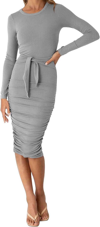 Women's Sweater Long Sleeve Wrap Midi Dress Casual Crewneck Slim Sweater Dress with Belt