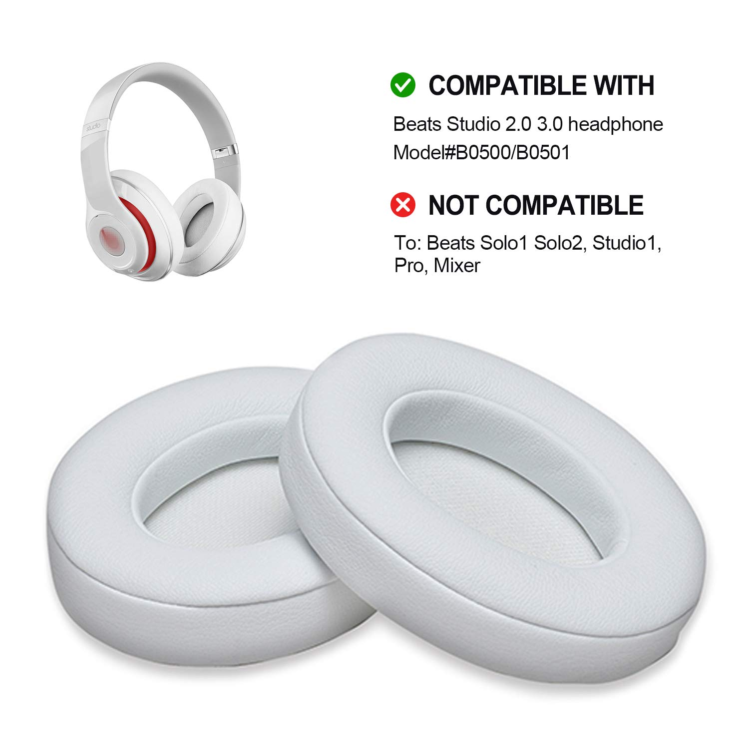Amazon Com White Replacement Earpads Agptek 2 Pieces Foam Ear Pad Cushion Compatible With Beats Studio 2 0 Wired Wireless B0500 B0501 Headphone Beats Studio 3 0 Electronics