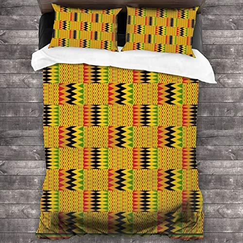 BROWCIN Juego de Sábanas Gráfico Verde Patrón Kente Zig Design Zag Path Vida Belleza Rojo Ghana África Africana Ashanti Resumen Juego de Funda nórdica y Funda de Almohada(220*240cm)