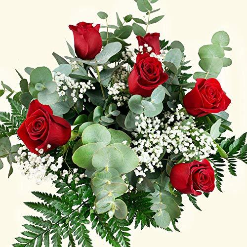 Ramo de 6 rosas rojas frescas de la mejor calidad. Entregamos de lunes a sábado. Sólo días laborales, no festivos. NO DOMINGOS. Para entregas en LUNES, es necesario realizar el pedido antes del sábado a las 10h. Haz tu pedido antes de las 17h y recíb...