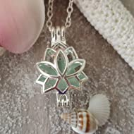 "Handmade from Hawaii,""Yoga Jewelry"" Lotus locket with a piece of natural sea glass necklace,..."