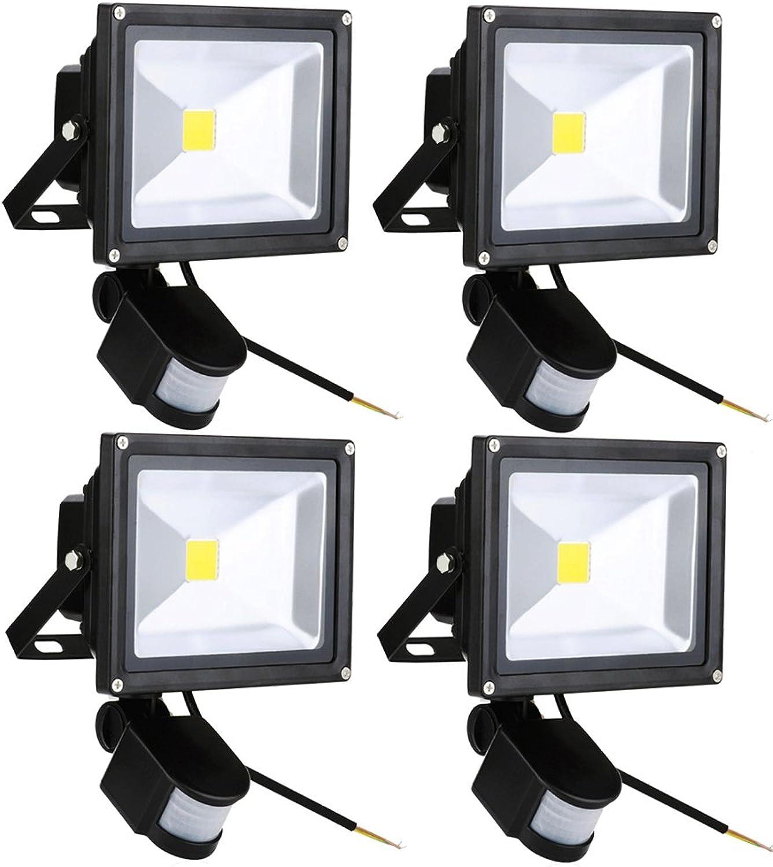 Leetop 4pcs 20W LED Auen Strahler Warmwei Sensor Auenleuchten IP65 Objektbeleuchtung LED Fluter mit Bewegungsmelder
