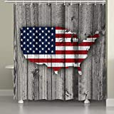 JAWO Wooden Shower Curtain for Bathroom,US Flag American Map on Rustic Vintage Gray Wood Panels Planks Rustic Cabin Theme Fabric Bathroom Curtain with Shower Curtain Hooks