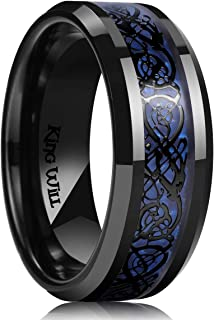 King Will Dragon 9mm Stainless Steel Ring Blue Carbon Fibre & Sliver Celtic Dragon Inlaid with Polished Beveled Edge&Black...