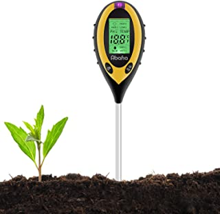 Abafia Soil pH Tester, 4 in 1 Soil Tester Moisture Meter Plant Soil Tester Kit with PH, Light and Moisture Acidity Tester ...