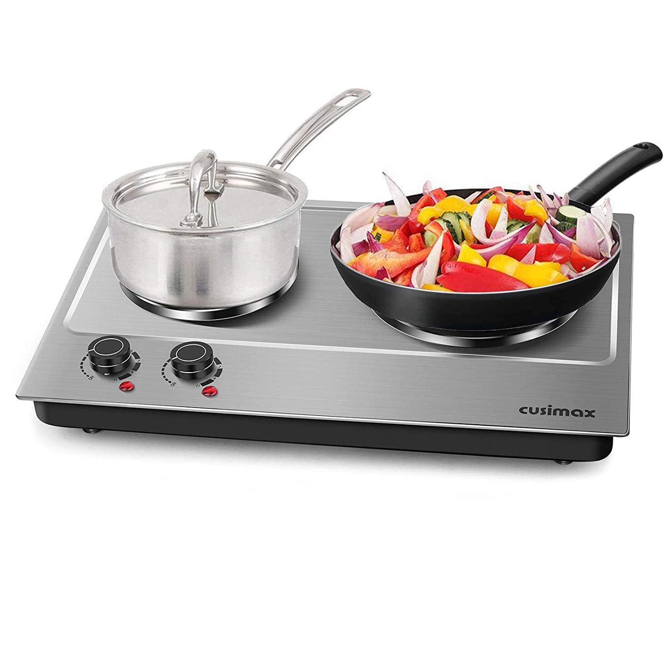 Cusimax Hot Plate Electric Burner Double Burner Cast Iron Heating Plate Portable Double Burner Outdoor Electric Stove 1800W with Adjustable Temperature Control Non-Slip Rubber Feet Black Stainless Steel Easy To Clean Upgraded Version