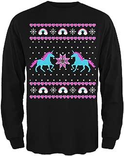 Unicorn Rainbow Ugly Christmas Sweater Mens Long Sleeve T Shirt