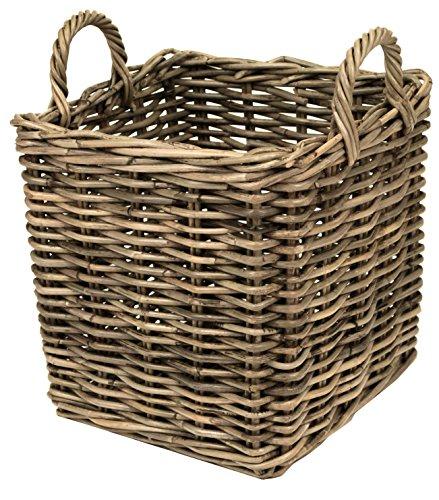 east2eden Grey Kubu Rattan Wicker Strong Square Storage Display Kindling Log Basket (Extra Large)