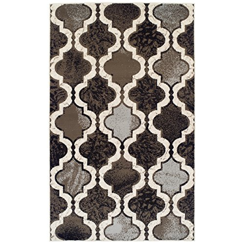 SUPERIOR Gudrun Indoor Area Rug, Super Soft, Durable, Elegant, Geometric, Trellis Pattern, Mid-Century, Contemporary, Jute Backing, Chocolate, 4' x 6' Rug