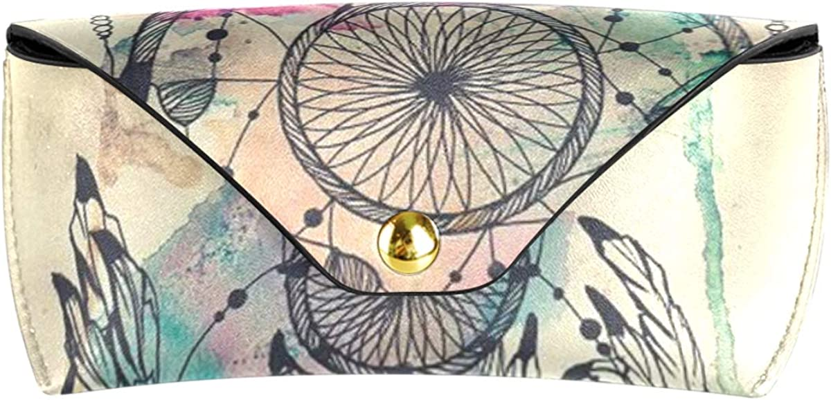 Goggles Bag PU Leather Sunglasses Case Eyeglasses Pouch Holder Portable Multiuse Dream Feather Wind Chimes