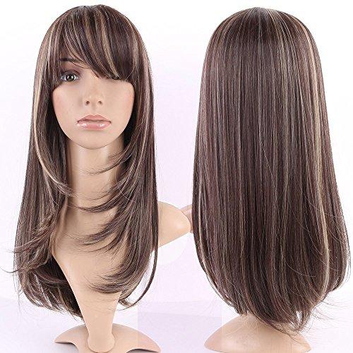 XHCP Perruque Femmes Pleine tête Perruque de Cheveux réel Naturel Longues Perruques complètes 22 cm Brun surligné côté ondulé Frange pour la fête Quotidienne