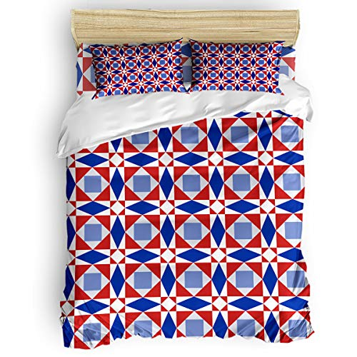 Cloud Dream Home 4 Pieces Luxury Duvet Cover Set Creative Geometry Pattern for Kids/Girl/Women/Adults Red Blue Breathable Bedding Comforter Cover Sets with Zipper, 4 Corner Ties Queen