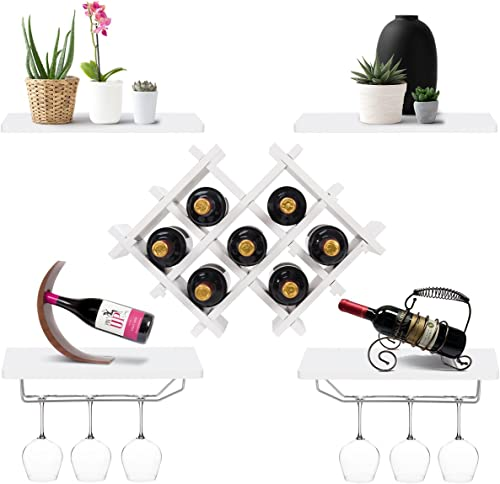popular Giantex Set of 5 new arrival Wall Mount Wine Rack Set discount w/ Storage Shelves and Glass Holder (White) sale