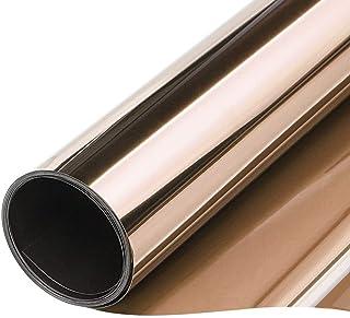 TTMOW Vinilo Pet Película Adhesiva Lámina de Espejo para Ventanas Cristal Unidireccional Protector de Privacidad Anti 99% UV y Anti 85% IR para Hogar y Oficina (Oro y Plata, 40 * 200cm)