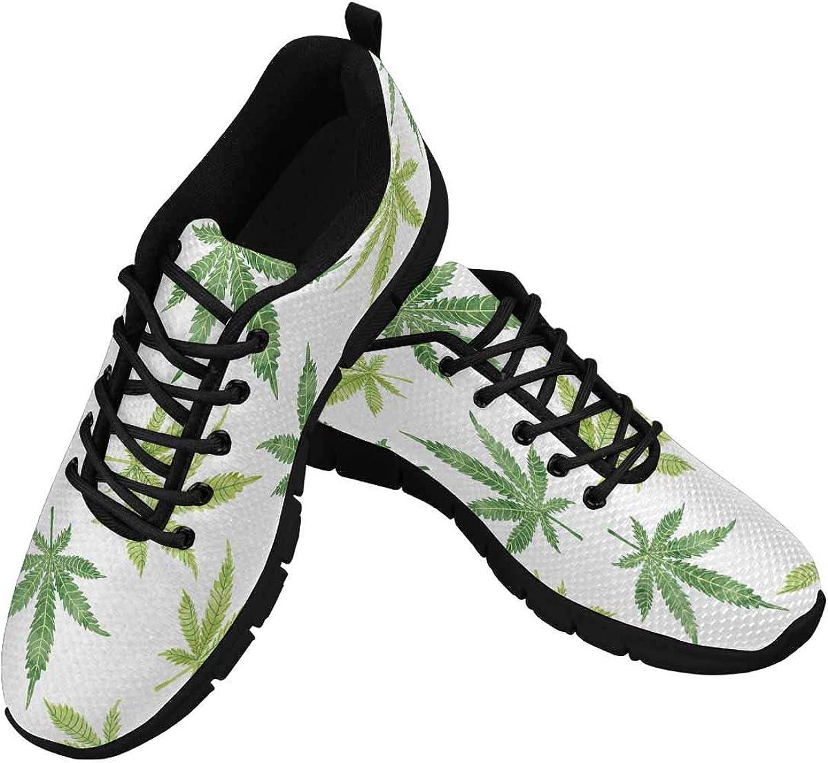 INTERESTPRINT Watercolor Cannabis Marijuana Leaves Women's Lightweight Athletic Casual Gym Sneakers