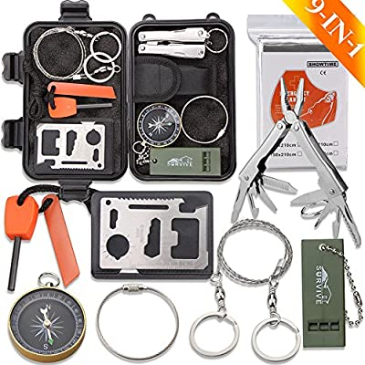 Emergency Survival Kit, Monoki 9-In-1 Compact Outdoor Survival Gear Kits Portable EDC Emergency Survival Tools Set with Gift Box for Camping Hiking Hunting Climbing Travelling or Wilderness Adventures from Monoki