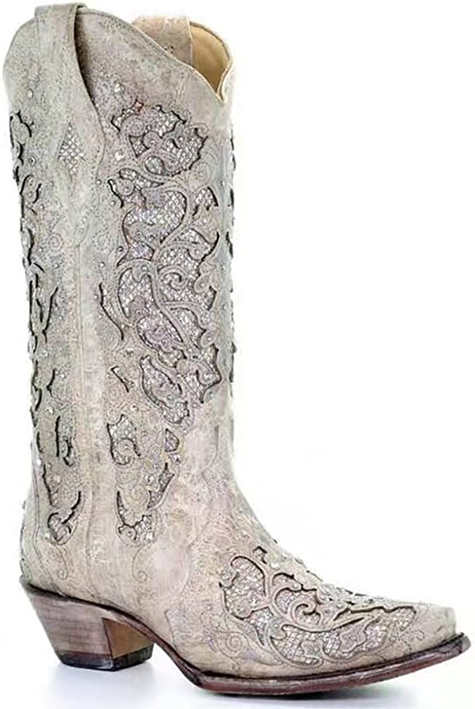 Catarry Women Glitter Inlay Rhinestones Wedding White Cowgirl Boots Embroidered Short Wide Mid Calf Western Boots
