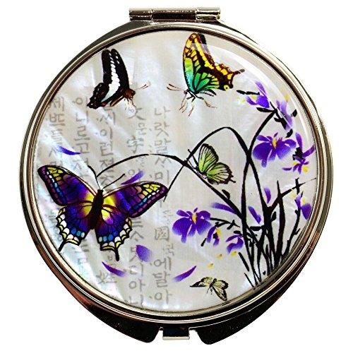 Miroir de Poche grossissant Fantaisie de Nacre Naturelle | Design Papillons et Fleurs de Lys